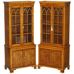Pair of Vintage Bevan Funnell Burr Yew Wood Glazed Door Bookcase Cupboards