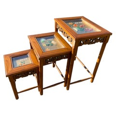 Asian Hardstone Nesting Tables, Set of 3