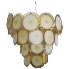 Italian Midcentury Murano, Venetian Glass Disc Chandelier, Pendant by Vistosi