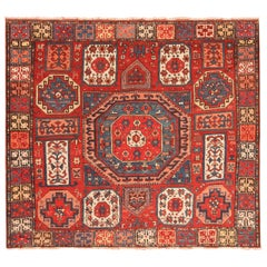 Eye-catching Antique Turkish Konya Rug. Size: 6 ft 2 in x 6 ft 10 in