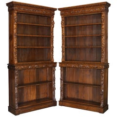 Antique Pair of circa 1860 Jacobean Revival English Carved Oak Library Bookcases