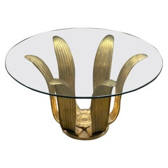 Mid-Century Gilt Bronze Flower Coffee Table with Round Glass Top