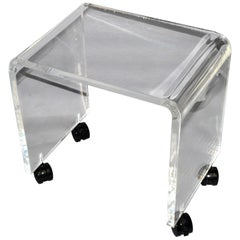 Mid-Century Modern Lucite Stool, Vanity Stool, Bench on Casters