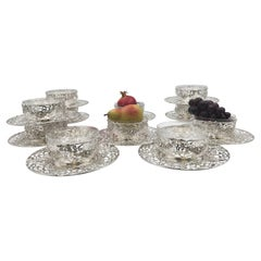 Black, Starr &Frost Set of 11 Sterling Silver Dessert Bowls Fitted French Liners