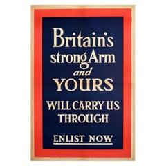 Original Antique Poster Britain's Strong Arm Enlist Now WWI Military Recruitment