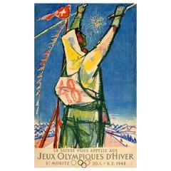 Original Vintage Poster Jeux Olympiques D'Hiver St Moritz 1948 Winter Olympics