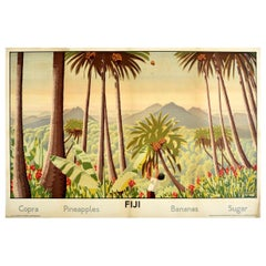 Original Vintage Empire Marketing Board Poster Fiji Copra Pineapple Banana Sugar