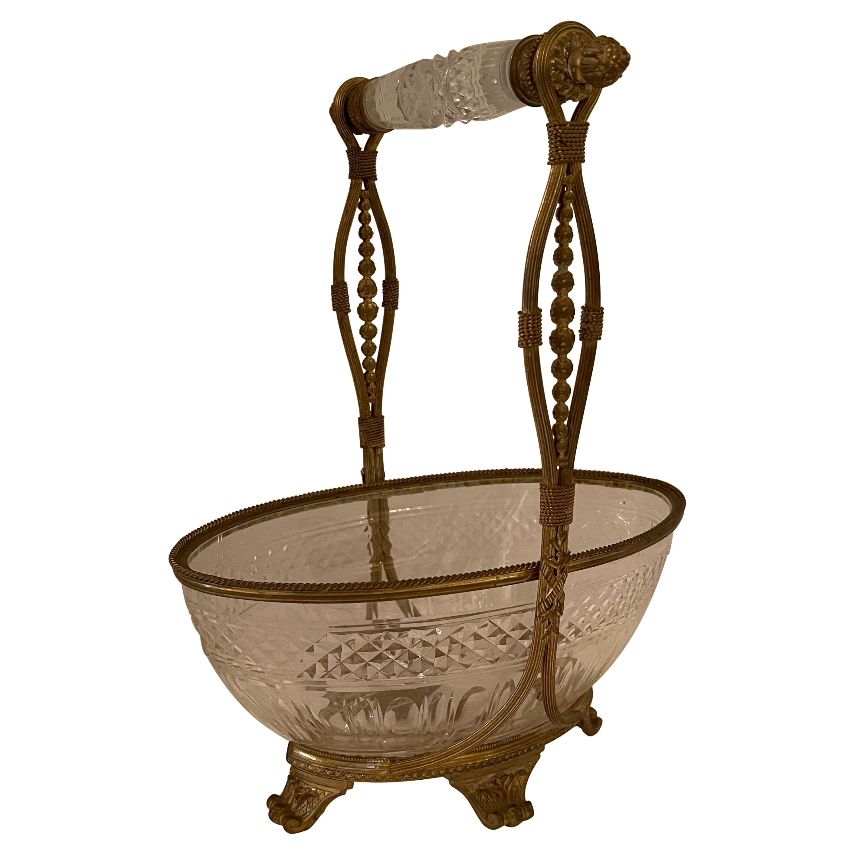 Wonderful French Baccarat Dore Bronze Cut Crystal Oval Basket Centerpiece Bowl
