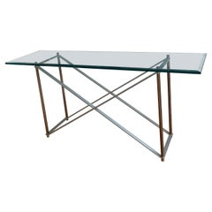 Postmodern Solid Stainless Steel & Brass Console/Sofa Table