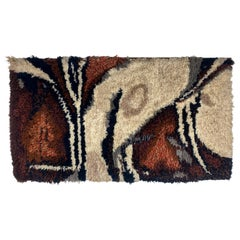 Modern Abstract Ege Rya Rug / Wall Hanging Signed & Dated 1977