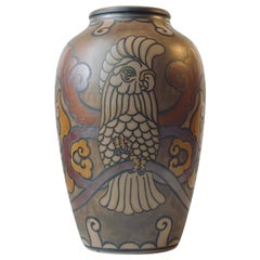 Vintage Scandinavian Terracotta Vase with Parrot by L. Hjorth, 1940s