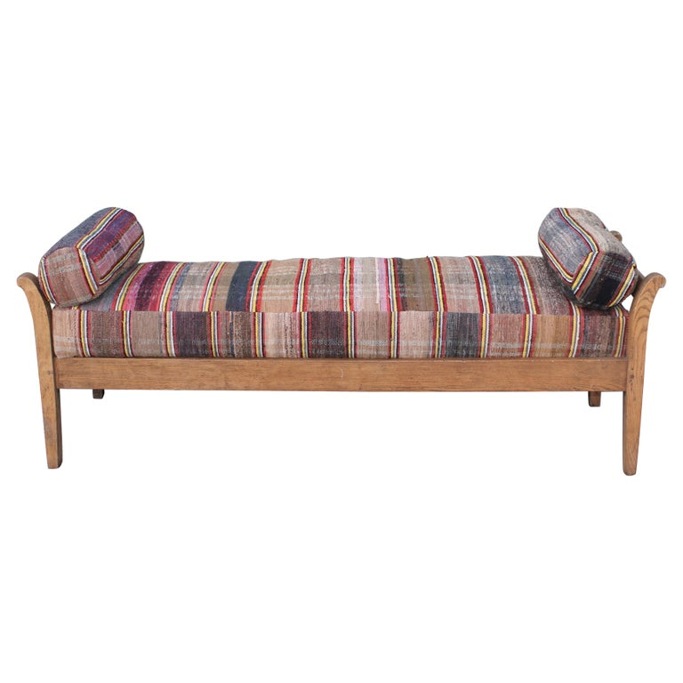 19thc Day Bed in Rag Rug Upholstery For Sale