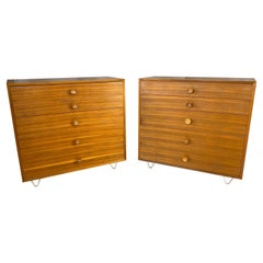 Pair of 1950s George Nelson for Herman Miller Walnut Dressers w/ Cupcake Pulls