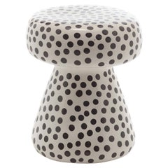 Gervasoni Inout Side Table in White Ceramic with Black Dots by Paola Navone