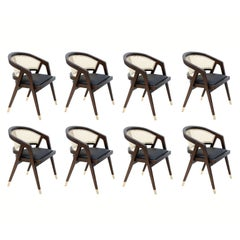 Contemporary Dining Chairs in Natural Cane, Set of 8