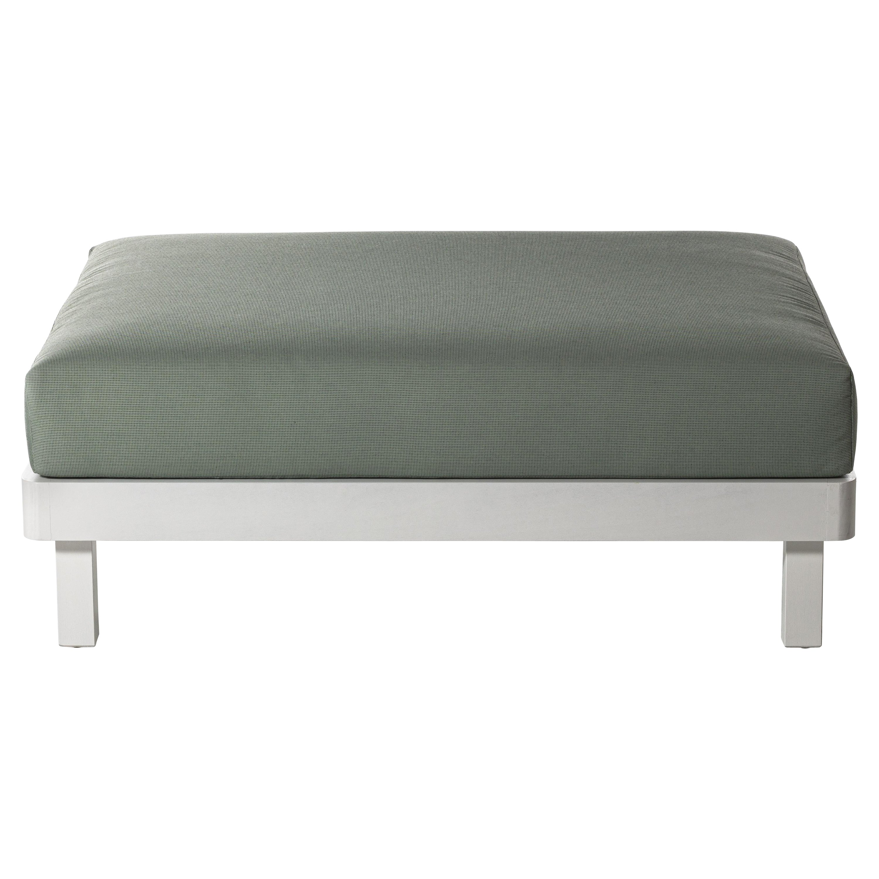 Gervasoni Win Ottoman in Dublin 05 Upholstery with White Lacquered Aluminum Base