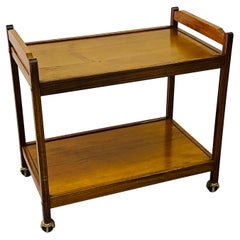 1970s Wood Rolling Serving Cart