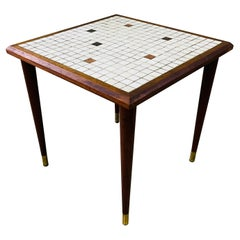 1960s Small Square Tile Top Side Table