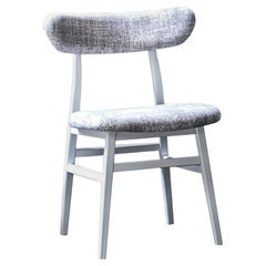 Gervasoni Brick Side Chair in Seal Recto Upholstery with White Lacquered Base