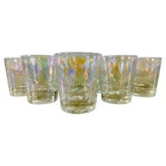 1960s Iridescent Glass Tumblers, Set of 8