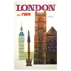 Original Vintage Travel Airline TWA London Poster 1960s, David Klein