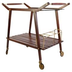Mid Century Italian Bar Cart in Teak