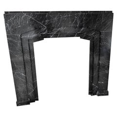 Art Deco Fireplace in Nero Marquina Marble, 1936