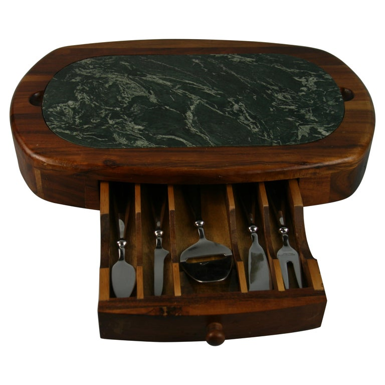 Green Marble and Wood Cheese Board with 5 Stainless Steel Knives For Sale