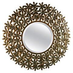 Large Spanish Mid Century Metal Flower Beveled Glass Mirror/Wall Sculpture