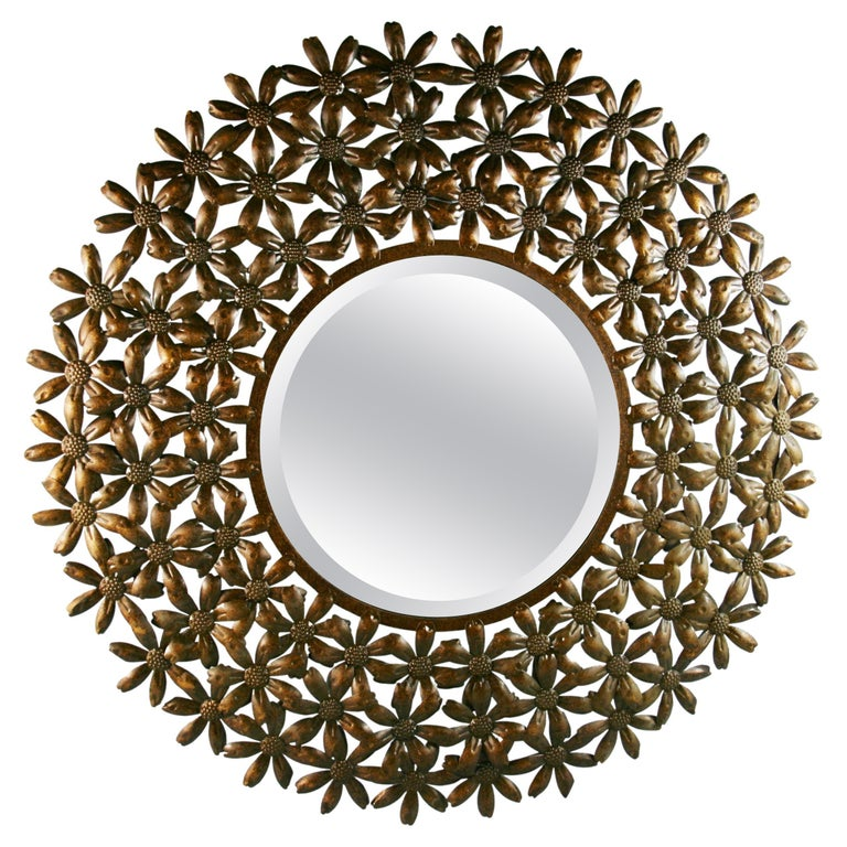 Large Spanish Mid Century Metal Flower Beveled Glass Mirror/Wall Sculpture For Sale