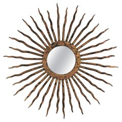Sunburst Mirror in Wrought Gilt Iron
