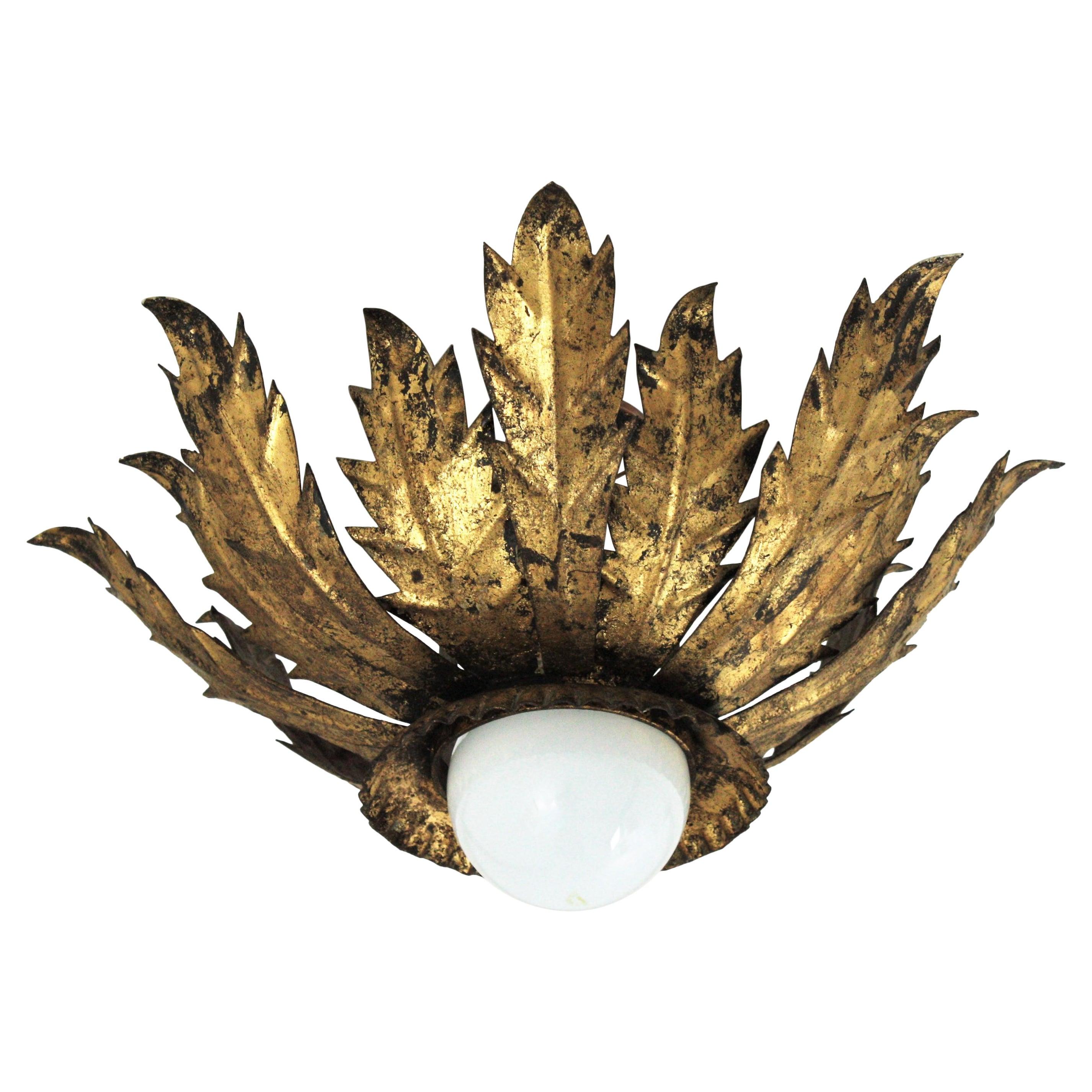 Leafed Crown Sunburst Light Fixture in Gold Gilt Metal