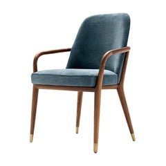 Contemporary Lise Chair with Arms Wood Leather by Castello Lagravinese Studio