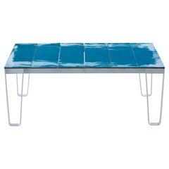 Gervasoni Small Inout Table in Turquoise Lava Stone Slats Top & Matt White Frame