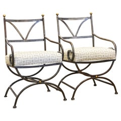 Pair of Vintage Neoclassical Curule Style Wrought Iron and Brass Armchairs