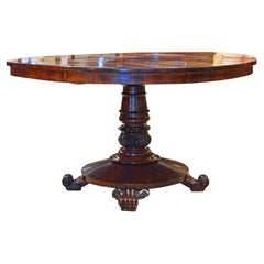 English William IV Carved Single Pedestal Rosewood Center Table, Circa 1840