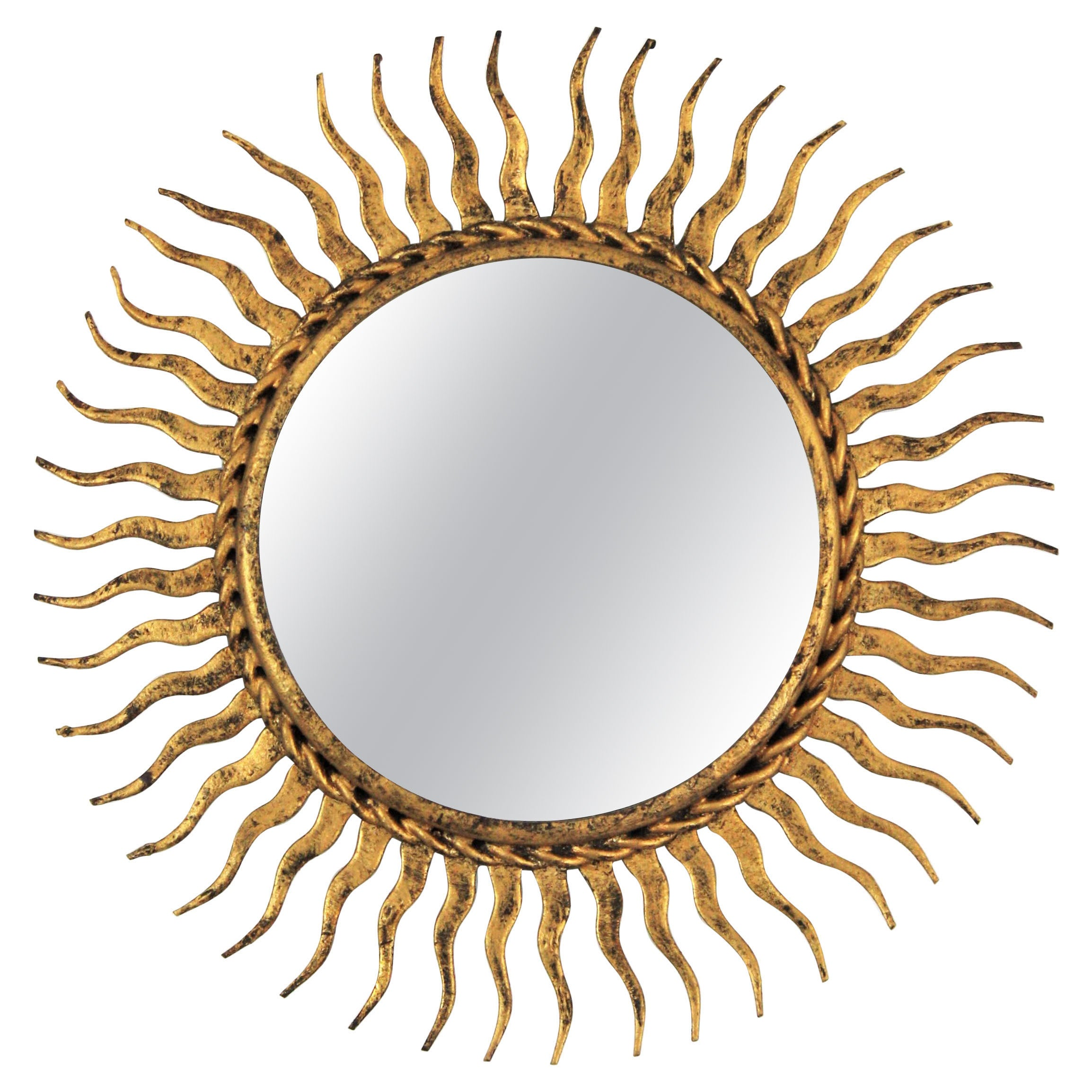 Sunburst Mirror in Small Scale, Gilt Wrought Iron