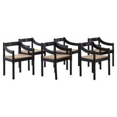Vico Magistretti Set of Six 'Carimate' chairs, c 1959