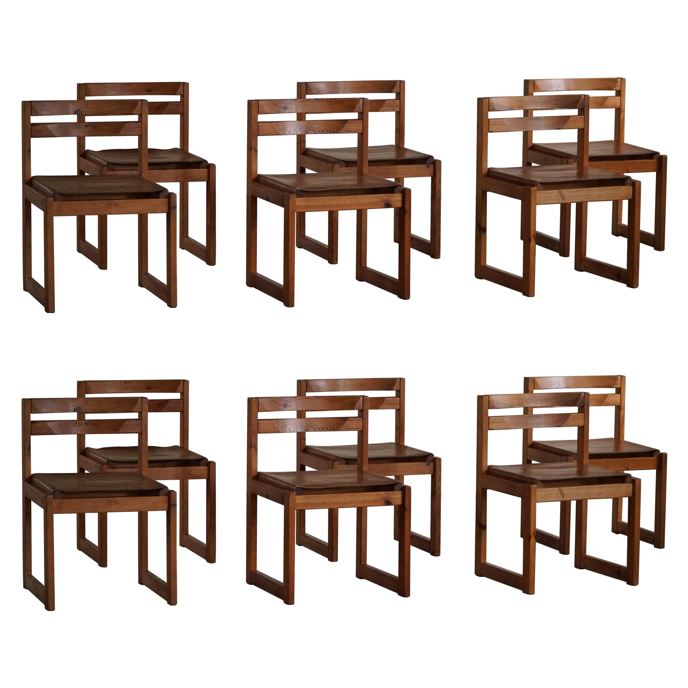 Set of 12, Danish Modern Dining Chairs in Pine and Leather, by Knud Færch, 1970s