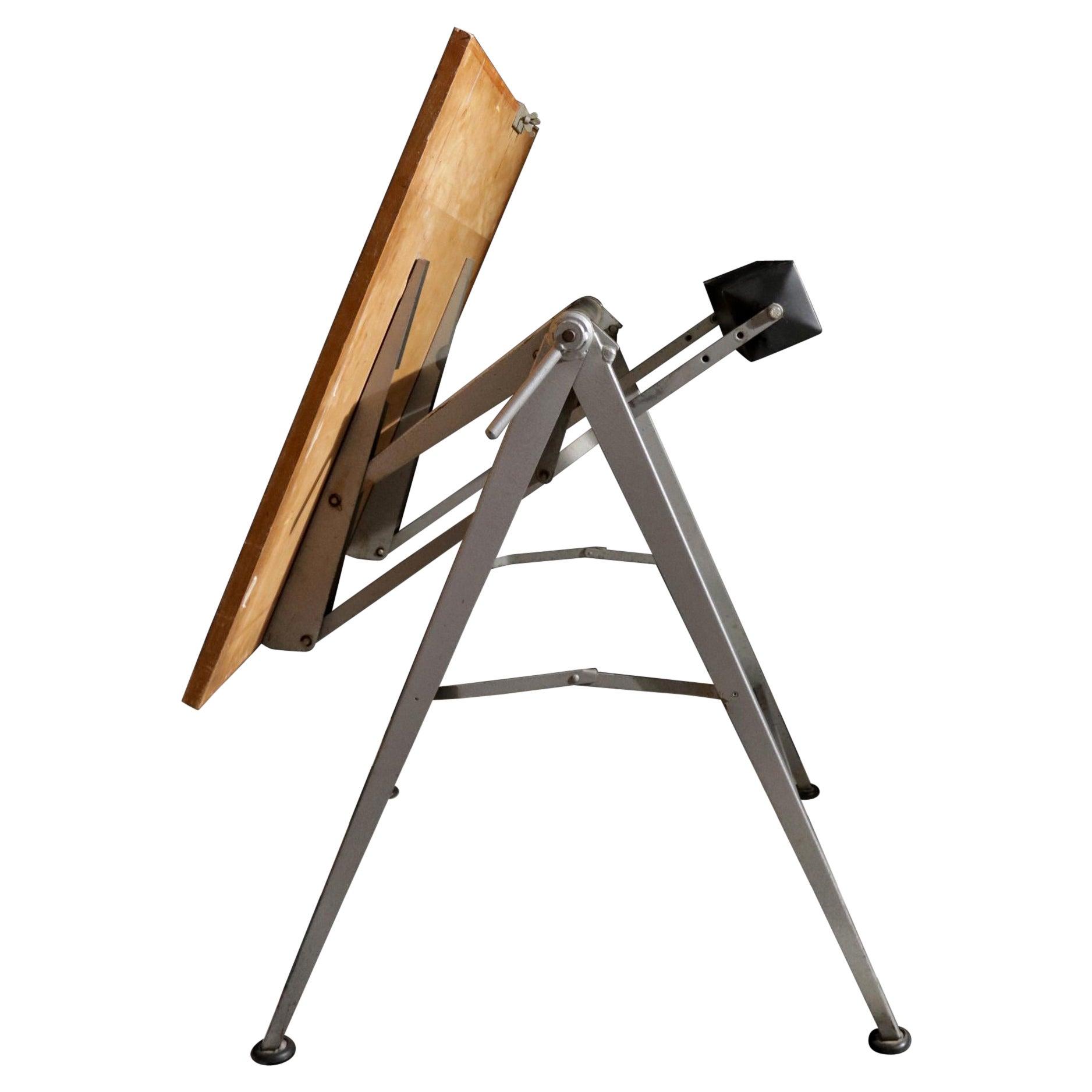 Mid-century Dutch Industrial Design Architect Folding Drafting Table 50