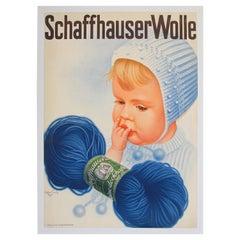 Vintage Poster Swiss Schaffhauser Wolle Wool Yarn Knitting 1934 Baby Blue