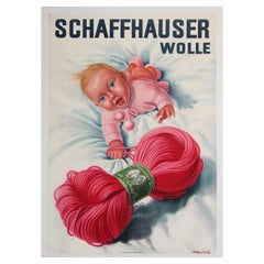 Vintage Poster Swiss Schaffhauser Wolle Wool Yarn Knitting 1935 Baby in Pink