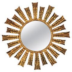 French Gilt Sunburst Starburst Mirror, 1950s