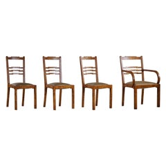 Set of 4 Swedish Art Deco Dining Chairs in Birch Root, Early 20th Century