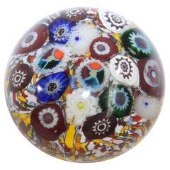 Vintage Millefiori Murano Style Italian Art Glass Paperweight, 1960s
