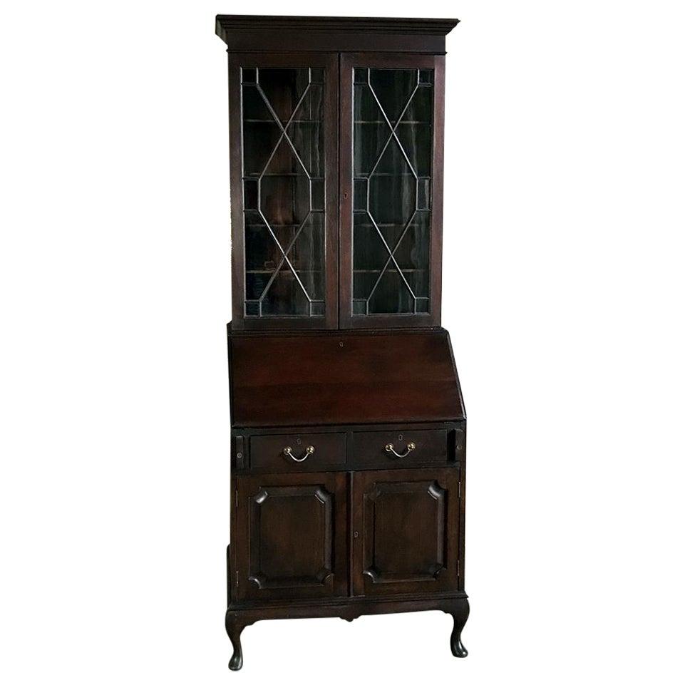 Antique English Queen Anne Mahogany Secretary, Bookcase