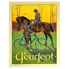 Original Antique Poster Cycles Peugeot Bicycles Messenger Military Horse Soldier