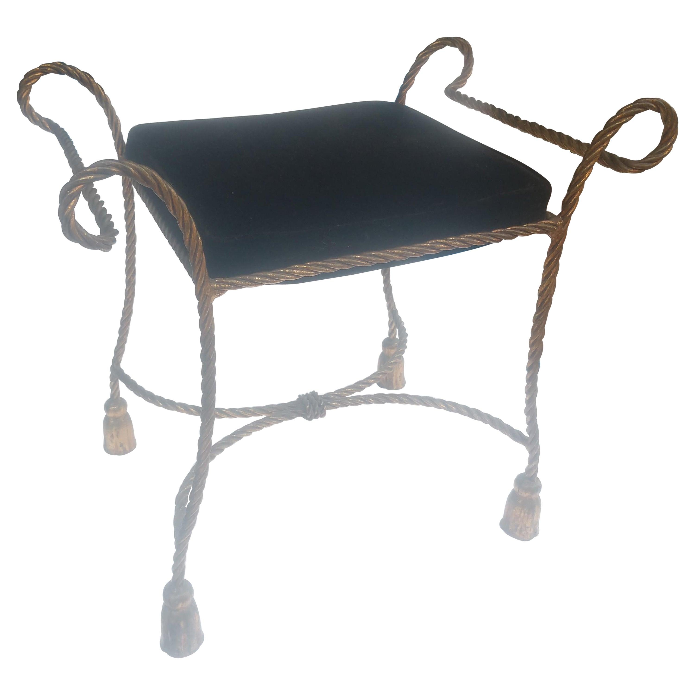 Hollywood Regency Mid Century Gilt Rope & Tassel Vanity Bench