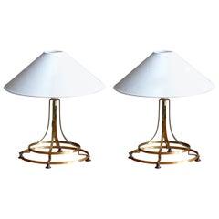 Swedish Designer, Table Lamps, Brass, Sweden, 1970s