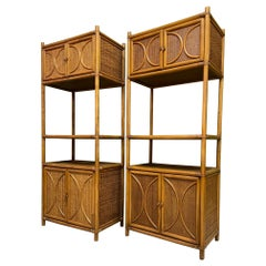 Rattan and Wicker Double Cabinet Etageres, a Pair